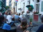 Watching soccer in a public place in Cologne, Germany