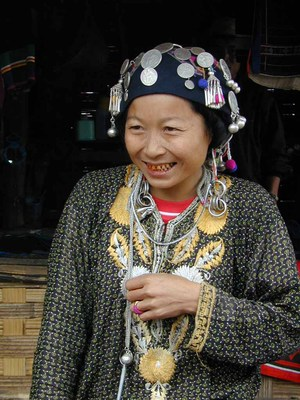 A vendor belonging to the Akha hill tribe in Laos.