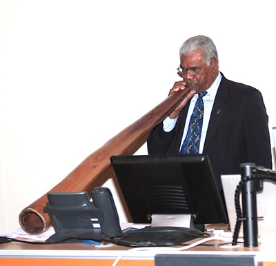 Traditional Australian aboriginal event opening, blowing the didgeridoo.  IACCP Melbourne, Austrial Congress, 2010.