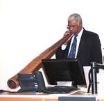 Traditional Australian aboriginal event opening, blowing the didgeridoo.  IACCP Melbourne, Austrial Congress, 2010.