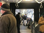 Morning commute on the 4/6 tram in Budapest, Hungary